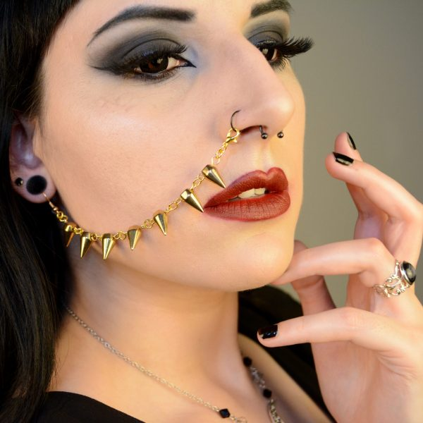 Ayame Designs handcrafted gold spiked nose to ear chain
