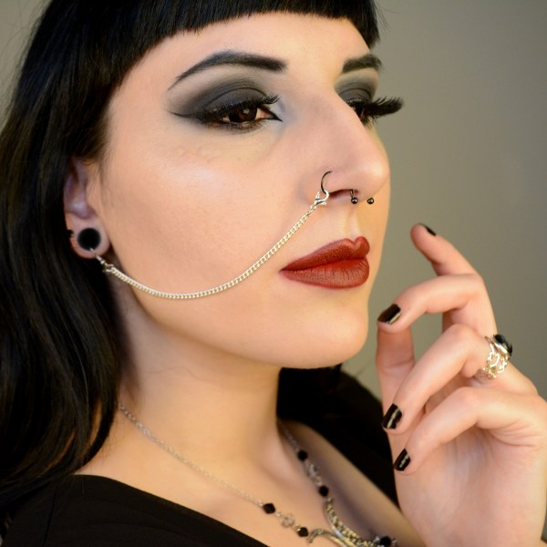 Ayame Designs handcrafted stainless steel nose to ear chain