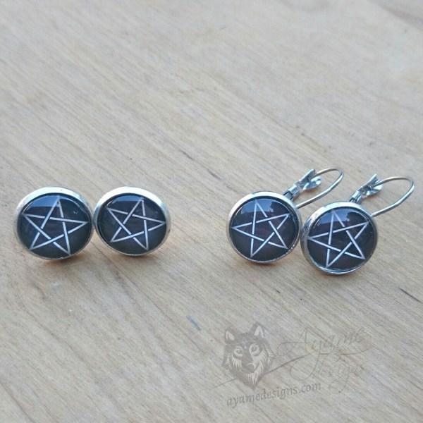 Ayame Designs stainless steel pentacle earrings