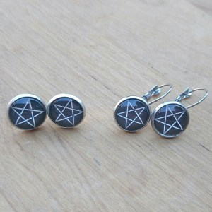 Ayame Designs stainless steel pentacle earrings