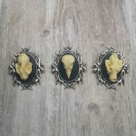 Ayame Designs gothic skull cameo brooch