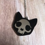 Ayame Designs laser cut perspex cat skull necklace