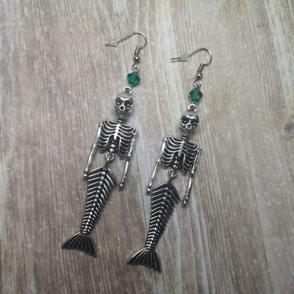 Ayame Designs handcrafted gothic mermaid skeleton earrings