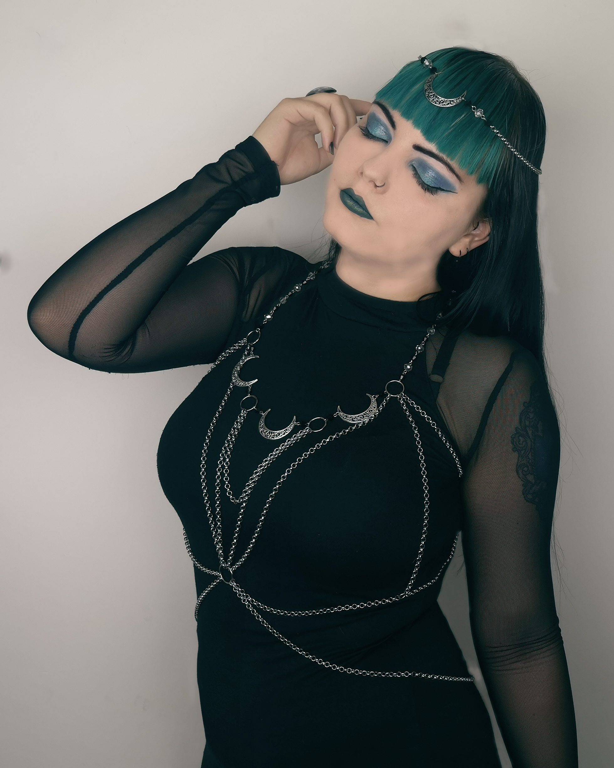 Ayame Designs handcrafted gothic moon body chain