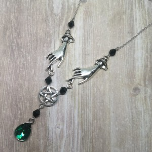 Ayame Designs handcrafted beaded hands pentacle necklace