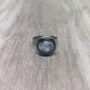 Ayame Designs stainless steel moon adjustable ring
