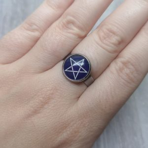 Ayame Designs stainless steel pentacle pentagram adjustable ring