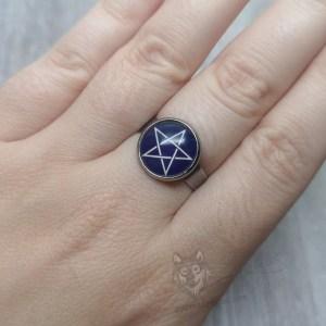 Ayame Designs stainless steel pentacle pentagram adjustable ring