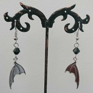 Ayame Designs handcrafted gothic bat wing earrings