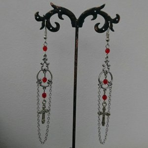 Ayame Designs handcrafted gothic cross earrings