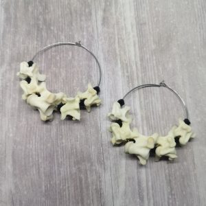 Ayame Designs handcrafted gothic snake bone earrings