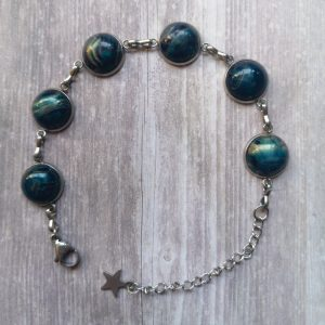 Ayame Designs handcrafted stainless steel resin cabochon bracelet