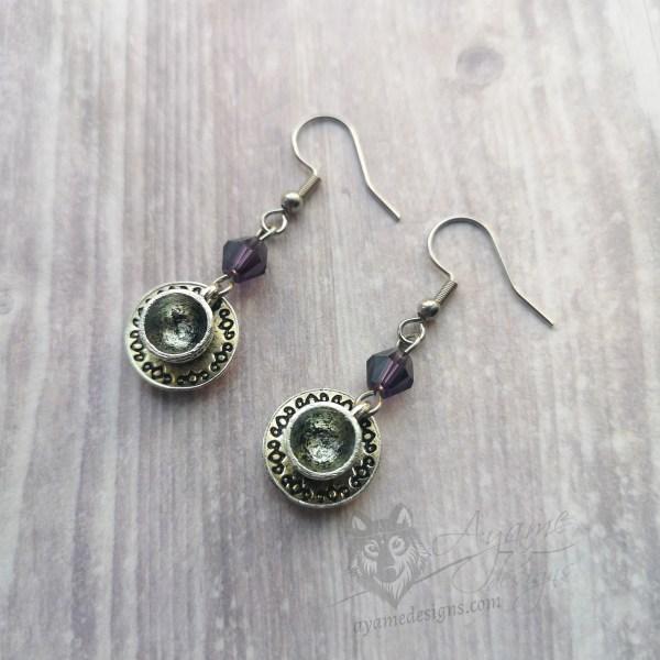Ayame Designs handcrafted teacup earrings