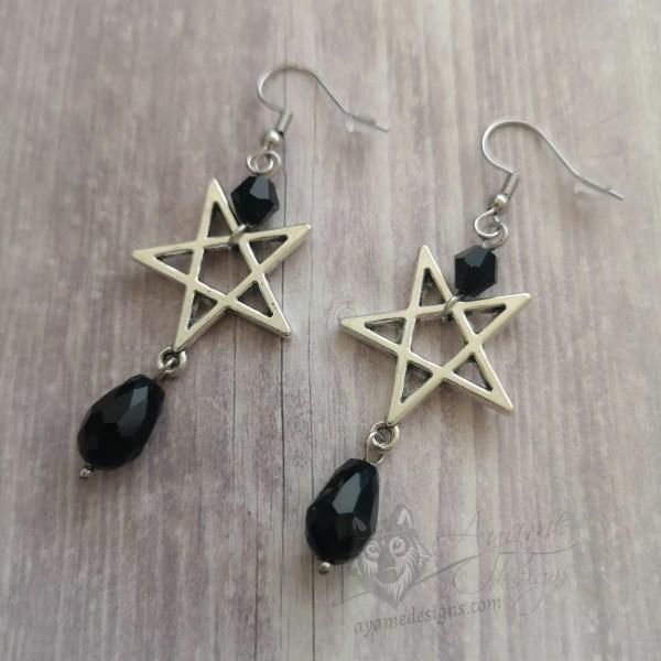 Ayame Designs handcrafted inverted pentagram earrings