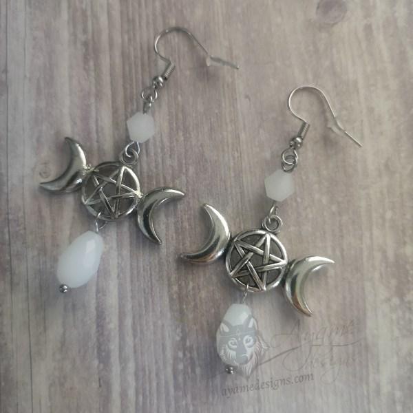 Ayame Designs handcrafted triple moon earrings