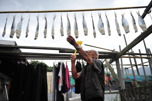 Making traditional salted fish needs patience. Ho walks around where the fish is hanging all day long in the sun, always ready to chase away thirsty flies wanting to stain the fish with his flyswatter in hand.