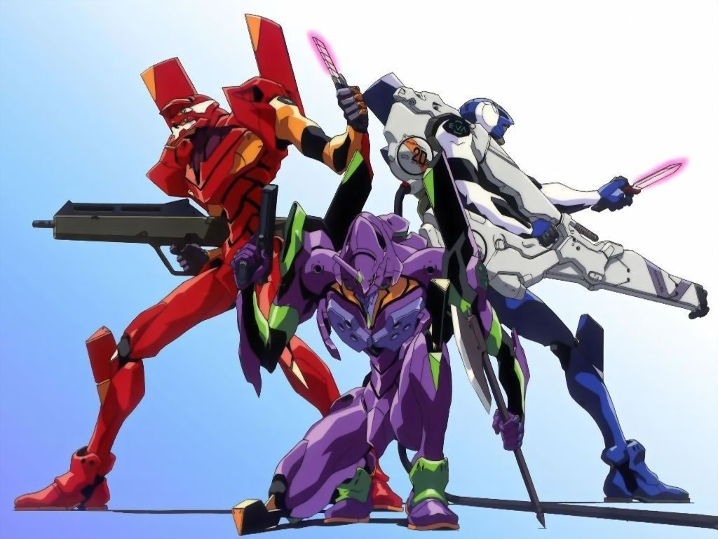 Promo art of Evangelion Units 00, 01, and 02.