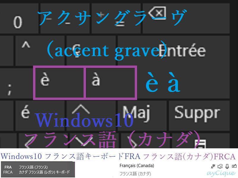 アクサングラーブ à, é フランス語(カナダ)windows10