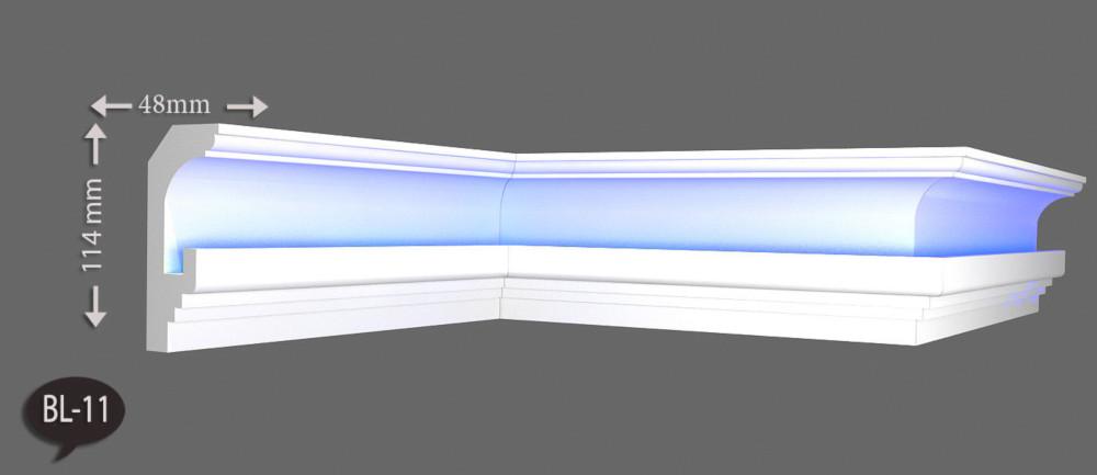 14 m+4 Ecken Indirekte Beleuchtung LED Lichtprofile Wand Stuckleiste Profil BL11