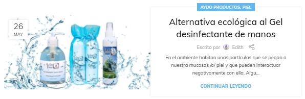 Alternativa ecologica al Gel desinfectante de manos aydoagua.com