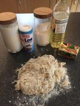 Kneading the roti dough