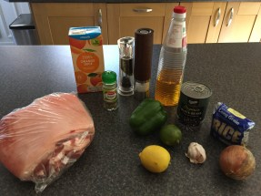 Ingredients for Cuban Pernil Relleno con Moros y Cristianos (Pork shoulder stuffed with black beans stewed with white rice)