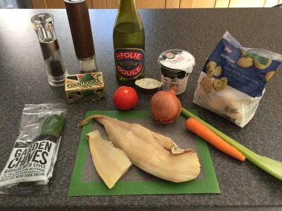 Ingredients for Plokkfiskur (fish stew)