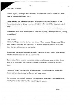 The Owl Service - Granada Press Release (1978) 2-Alan Garner-A Year In The Country