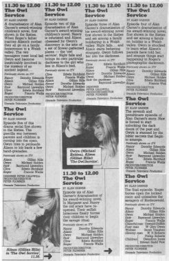 The Owl Service-Radio And TV Times listings