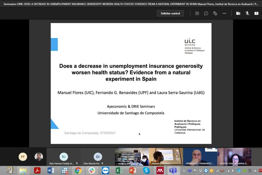 """Today at @game_idega & AYeconomics seminar,@ManuFloresMallo  from the Universitat Internacional de Catalunya presented his ongoing study using a policy reform in Spain where he highlighted that """"Decreasing unemployment benefit generosity worsens health"""""""