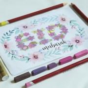 elegant feminine pink flowers green leaves A4 printable resizable