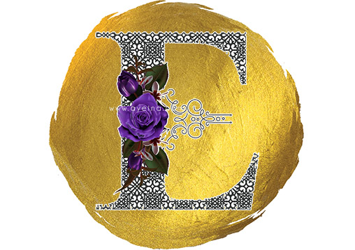 samina farooq purple flowers gold paint blob circle
