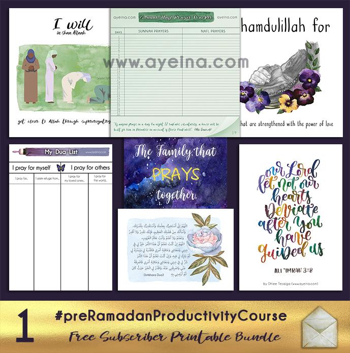 free printable, prayer tracker, productivity journal for muslims, hand lettering, #AlhamdulillahForSeries, #iWILLinshaAllah , Dua List, pray together, istikhara dua