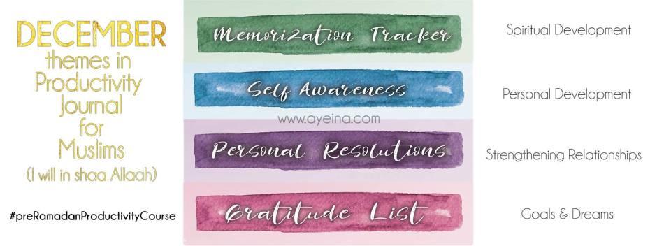 memorization tracker for 99 names of Allah, self awareness, personal resolutions, gratitude list