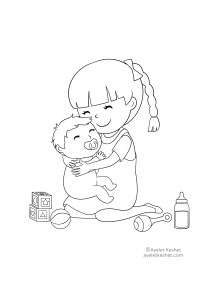 coloring pages about family - baby brother