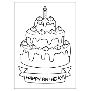 cute greeting cards to print and color - layers cake