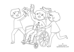 coloring pages about friendship - friend with disability