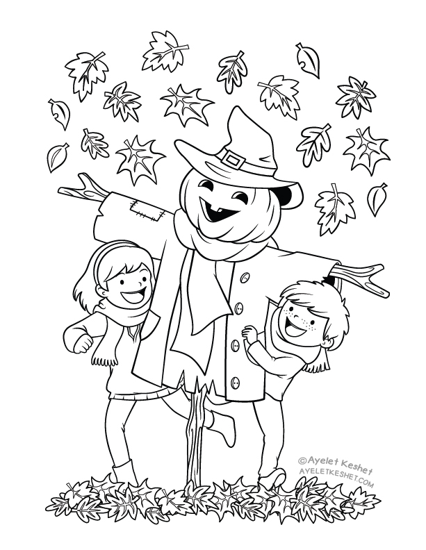Autumn Coloring Pages For Kids With Heart Warming Illustrations