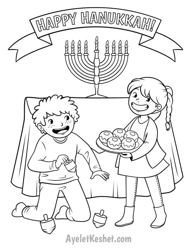 Free printable Hanukkah coloring pages - Ayelet Keshet