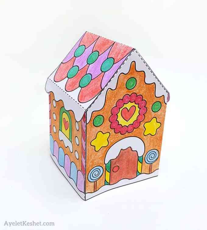 Printable Gingerbread House Template To Color Ayelet Keshet