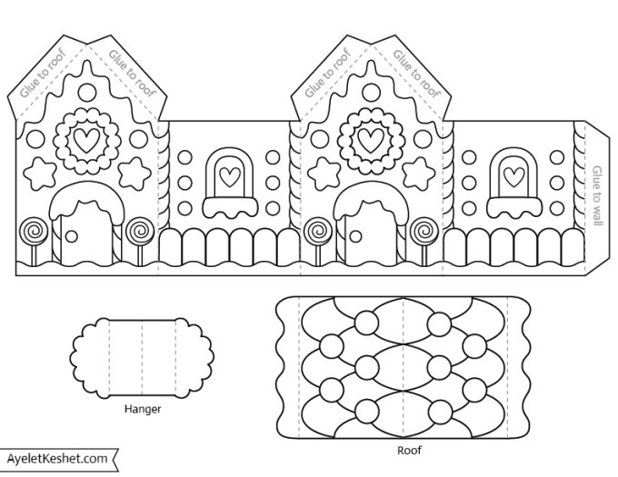 Sweet image with gingerbread house printable template