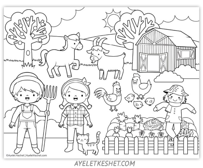Cute and fun farm coloring pages for kids - Ayelet Keshet