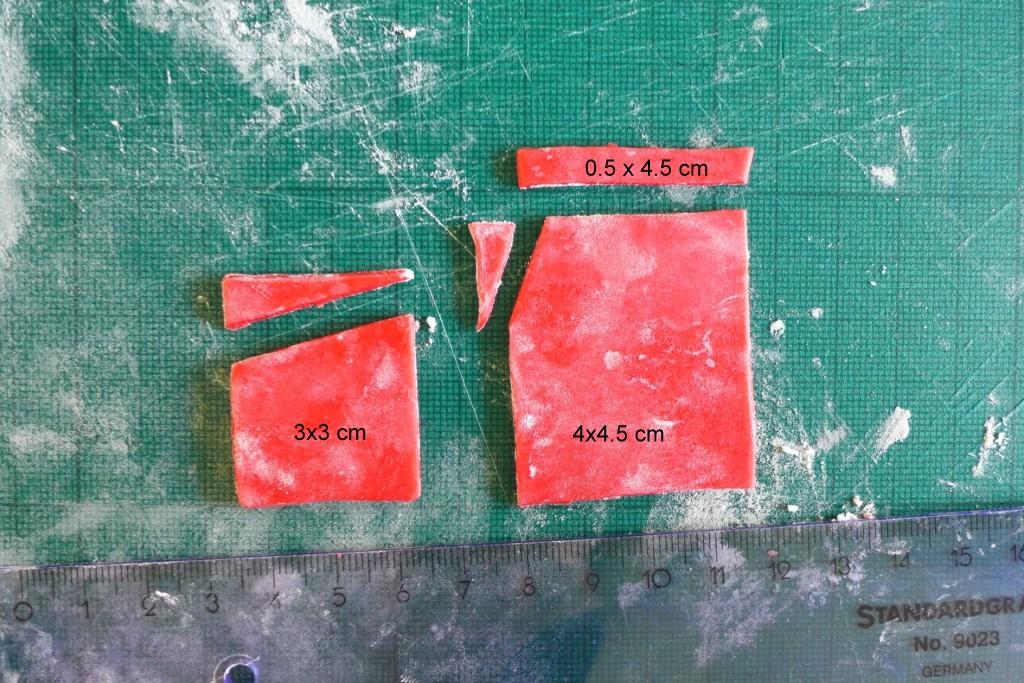 red fondant squares