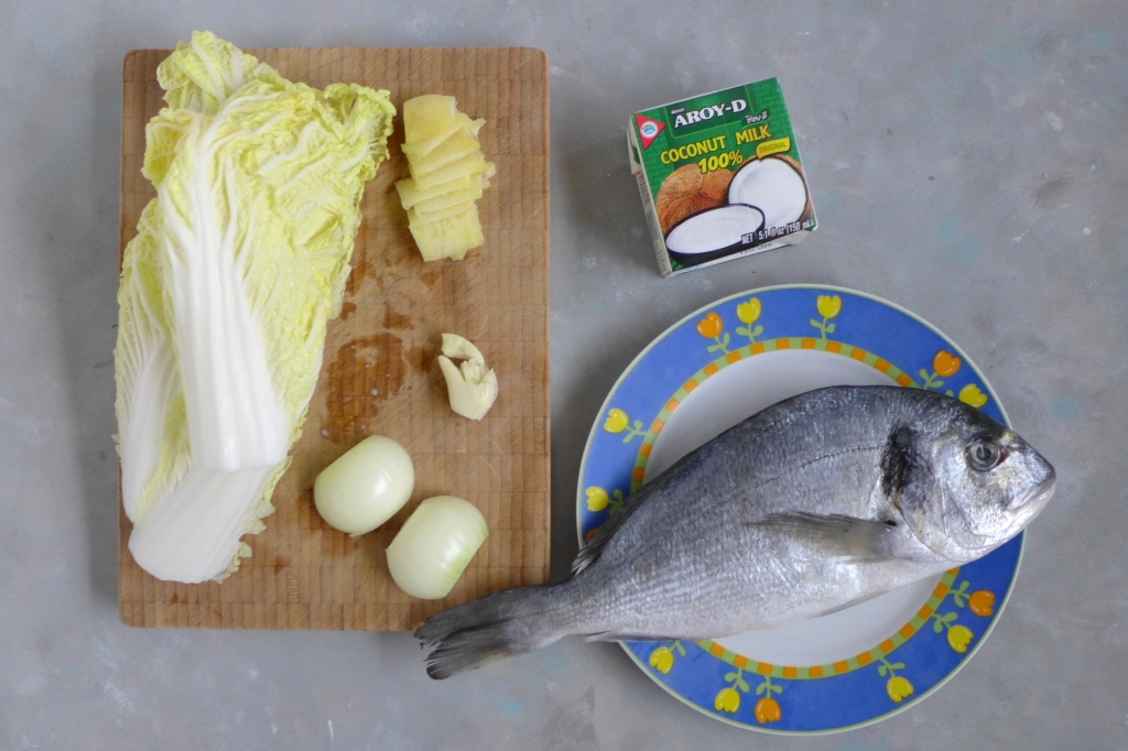 Mise-en-place ginataang isda