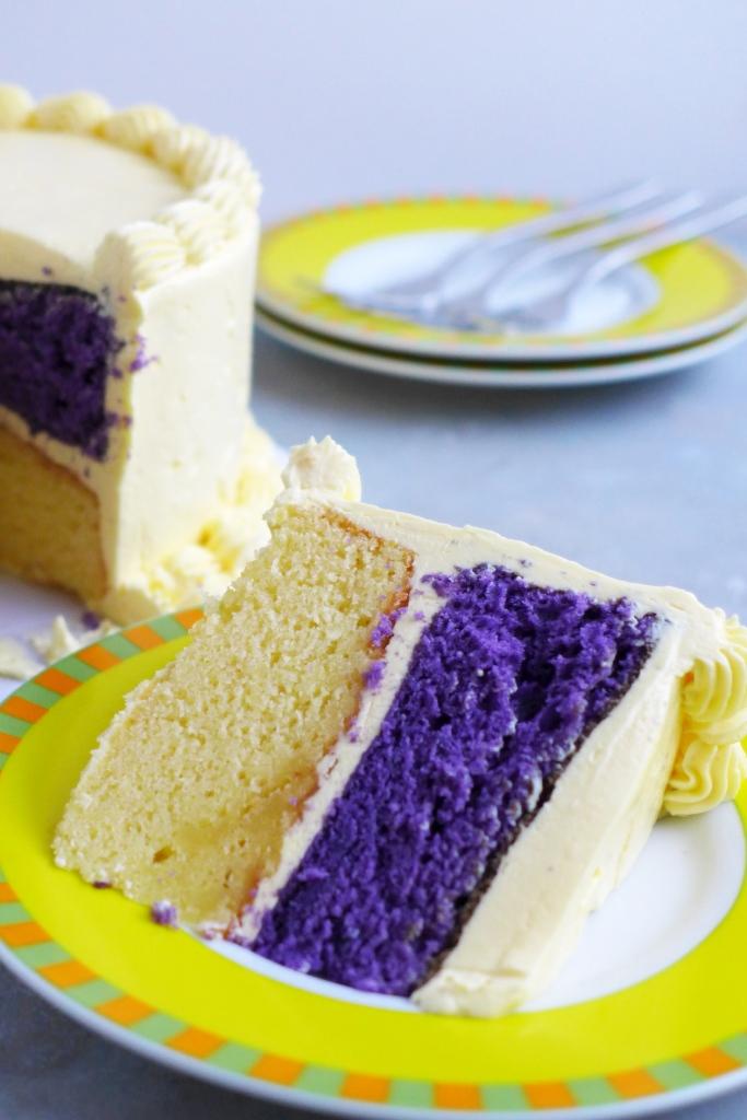 ube and yellow cake