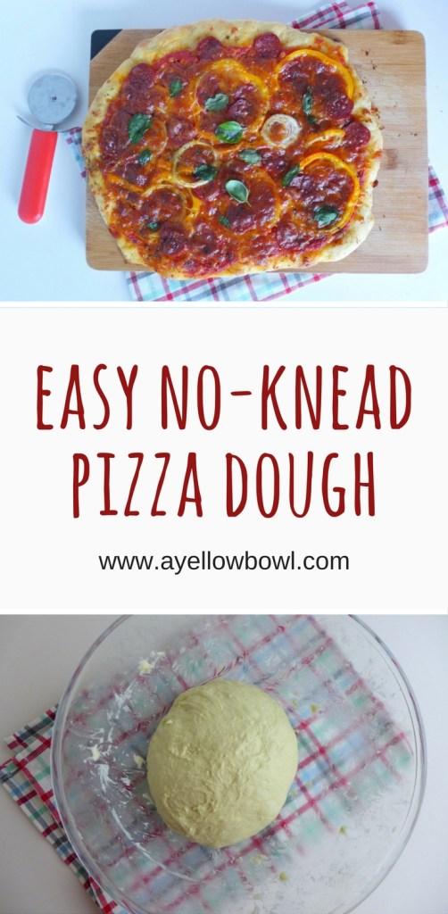 easy no-knead pizza dough recipe