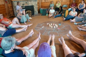 Women share stories in a circle