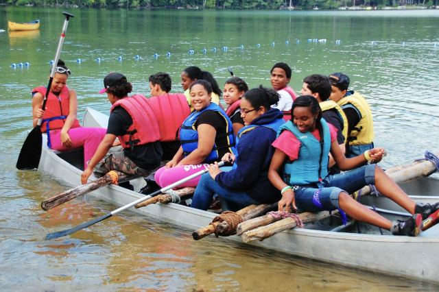 Camp Merrowvista school program tests raft on Dan Hole Pond