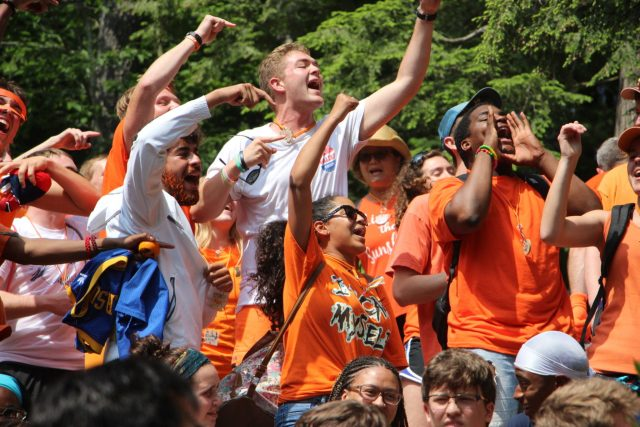National Leadership Conference Participants perform and scream at Camp Miniwanca