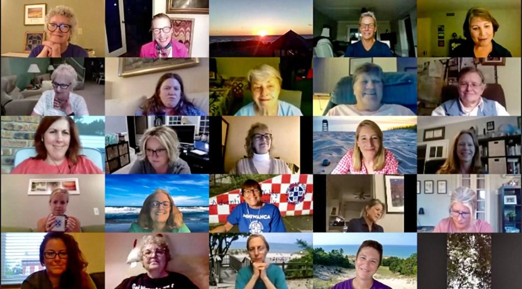 a zoom screen of women
